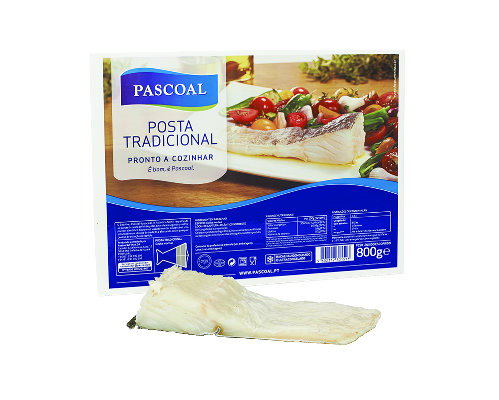 Deep-frozen dessalted codfish traditional cut portions by Pascoal