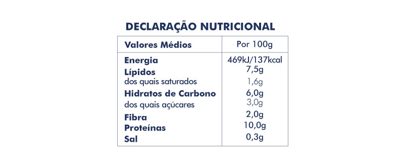 Tabela nutricional bacalhau com natas | restauração