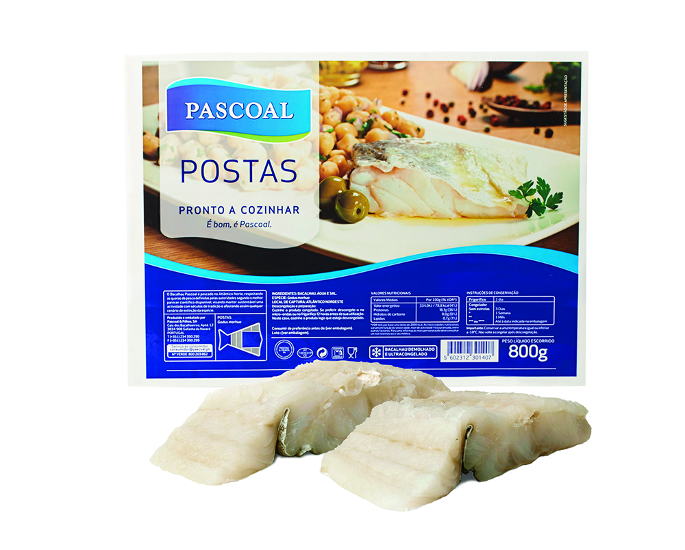 Deep-frozen dessalted codfish portions by Pascoal